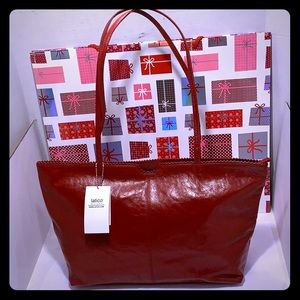 NEW NWT LATICO Nicoleta Red Leather Tote Bag